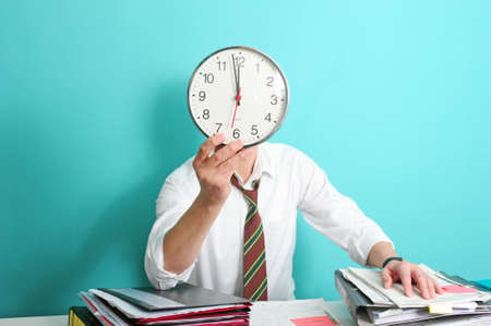 Man with clock in front of his head photo