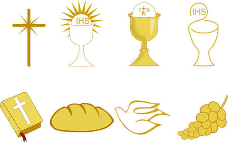Golden Symbols of Christianity Vector