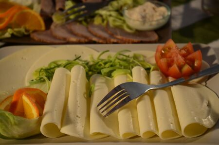 cheese plate with vegetables