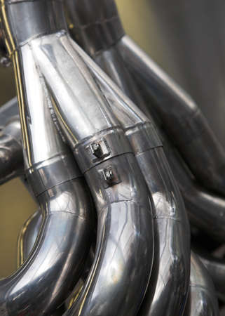 manifold: Formula One Exhaust System Stock Photo