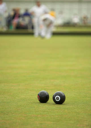 wood lawn: A game of lawn bowls. Focus on the woods. Stock Photo