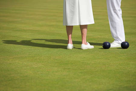bowl game: Ladies match at a lawn bowling competition.