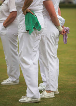 Ladies team competing in a lawn bowls tournament. Stock Photo - 3361375