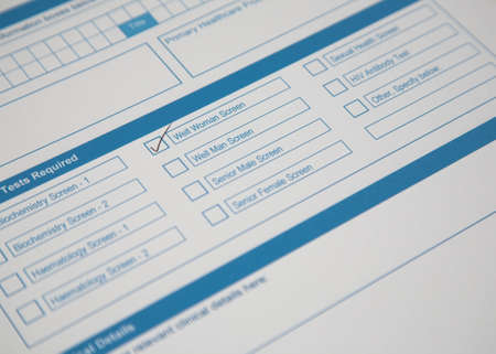 phlebotomy: A pathology request form with a tick in the Well Woman Screen box.
