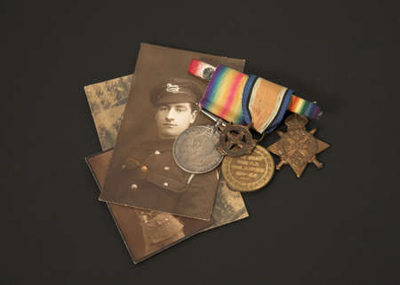 memorabilia: Photograph and medals of a Great War veteran Stock Photo