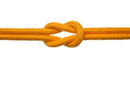 A yellow rope tied with a reef knot. White Background.