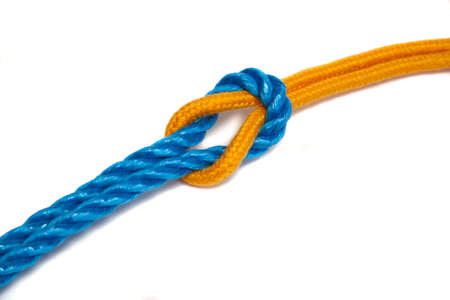 rope knot: Two different ropes tied together with a reef know - with shadow Stock Photo