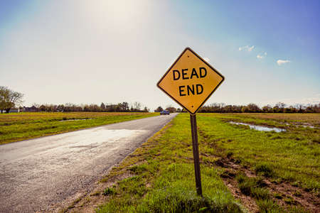 Dead End road sign with a road going to horizon in the background. Versatile image for bussiness or project failure, road blocks, problems concepts with copy space. Sunny day behind. Foto de archivo