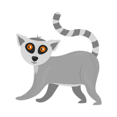Illustration of an animal lemur. Character lemur