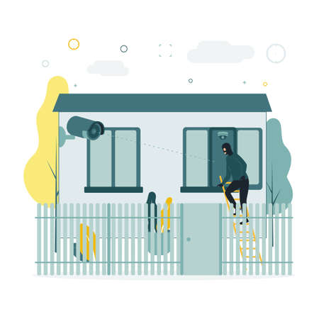 Video monitoring. A vector illustration of a burglar climbing a window on a staircase, a video surveillance camera takes it off. The camera shoots as a masked man creeps into a window at home.