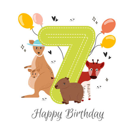 Vector illustration happy birthday card with number seven, kangaroo animals in a hat with a baby kangaroo, capybara, okapi, balloons, hearts, asterisks. Greeting card happy birthday. Illustration