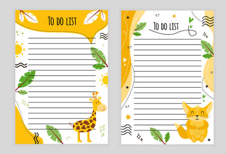 Illustration page with lines. To-do list with giraffe, palm leaves, sun, doodle, color background, page with lines to-do list with animal baubles, hearts, stars, palm leaves, color background. 일러스트