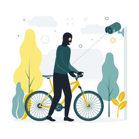 CCTV. Vector illustration a masked man steals a bicycle, a surveillance camera takes it off. A surveillance camera captures a crime, a masked criminal takes away someone elses bicycle. Ilustração