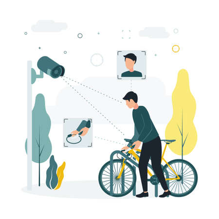 CCTV. Vector illustration a man steals a bicycle, a surveillance camera takes it off. A surveillance camera captures a crime, a man with a knife steals someone else bicycle.