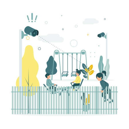 CCTV. Vector illustration of children swinging on a swing at the playground in kindergarten, video surveillance cameras are filming as a girl tries to climb out of the fence.