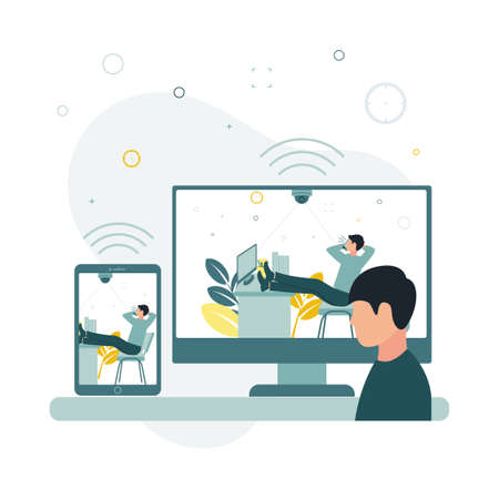 CCTV. Vector illustration a surveillance camera takes and transmits data to a monitor and a phone as an employee leaned back in his chair, put his feet on a table and speaks on the phone.