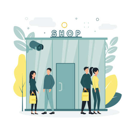 CCTV. Vector illustration at the entrance to the store, near which people are being monitored by a video surveillance camera, on the background of trees, plants, clouds