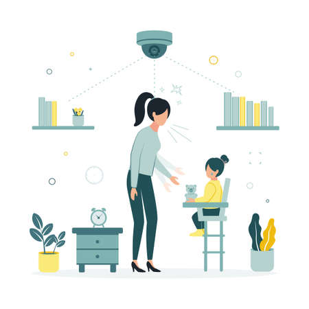 CCTV. A vector illustration of a video camera filming a nanny with a child who offends a girl. A video is being recorded on a monitor from a security camera that removes a nanny offending a child.
