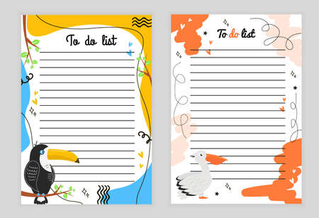 Illustration page with lines. To-do list with toucan bird, branch with leaves, hearts, stars, doodle and colored background, page with rows to-do list with pelican, hearts, stars. Vektorové ilustrace
