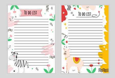Illustration page with lines. To-do list with zebra, flowers, stars, doodle, color background, page with lines to-do list with animal alpaca, flower, heart, star, color background.