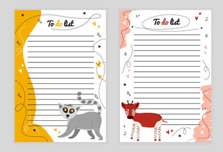 Illustration page with lines. To-do list with animal lemur, asterisk, heart, doodle, color background, page with lines of to-do list with animal okapi, hearts, stars, doodle, color background.