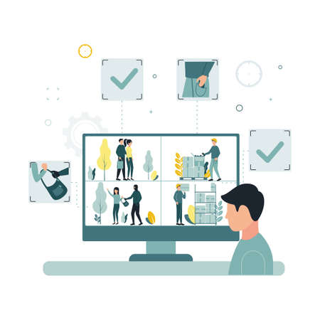Video monitoring. A vector illustration of a man looks at the monitor screen, a video surveillance camera captures the theft of a woman bag, a worker steals goods from a box.