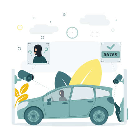 CCTV. A vector illustration of a CCTV camera captures a criminal in a car, does not recognize a person face in a mask, recognizes car numbers. A CCTV camera captures a person in a car.