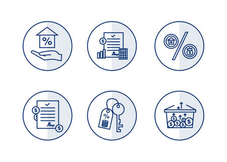 Finance icons. Financial services icons set. Mortgage, financial exchange icons.