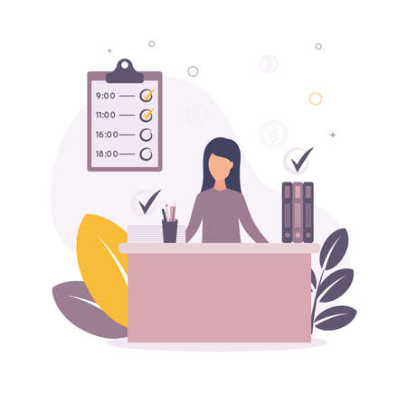 Time management. Illustration of a woman sitting at a table on which papers and folders, above them a check mark about a job, on a background a graph, plants, coins. Vectores