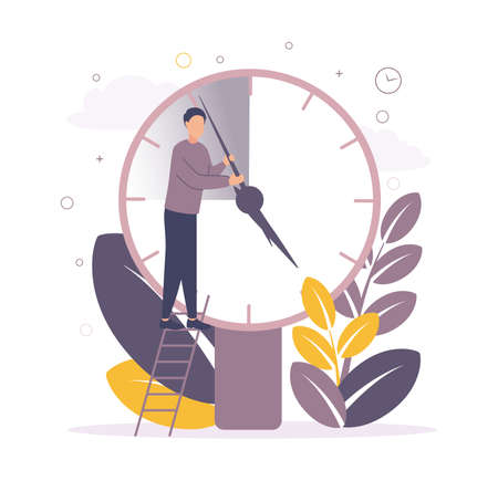 Time management. Illustration of a man standing on the stairs near the big clock and moves the arrows, on the background of leaves, circles, watches.