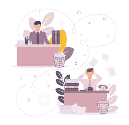 Time management illustration. Illustration of a man sitting at a table on which papers and folders, a checkmark above them on a task, against a background of a graph.