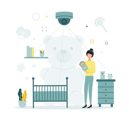 Illustration of video surveillance. Supervision of the nanny and the child. Video surveillance in the children's room. Video control. The camera takes off the nanny. A woman holds a baby in a room.