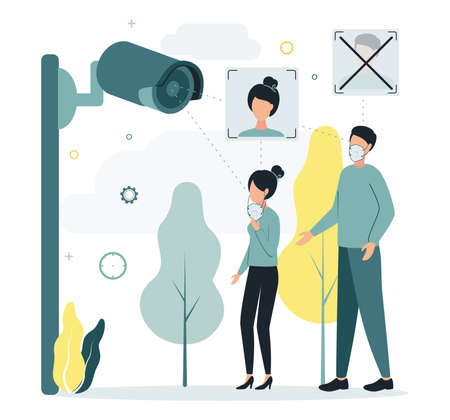 Illustration of video surveillance. Face recognition. The camcorder cannot recognize people's faces due to masks on their faces.The CCTV camera cannot recognize the man face because of the mask on it