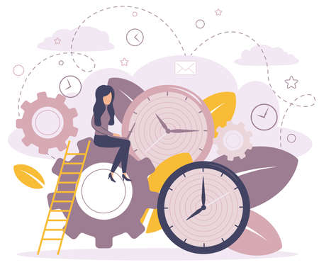 Vector illustration, alarm clock rings on white background, concept of work time management. How time is running out.