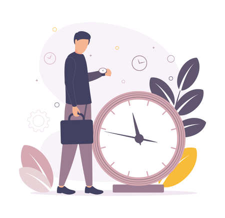 Time management. Illustration of a man holding a business briefcase in his hands, standing near a big clock with leaves on the background and looking at the time on his wristwatch Vecteurs