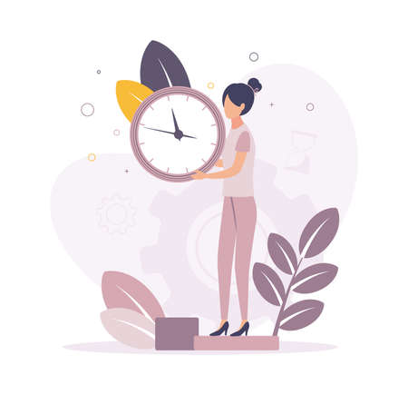 Time management. Illustration of a woman holding a clock in her hands with a dial, on the background a gear, hourglass, leaves, branch.
