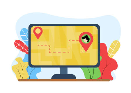 Delivery illustration. Package tracking. On the monitor, location icons with a dashed line between them, against the background of the plant. Location icons indicating the path on the monitor.