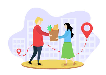 Illustration of grocery delivery to the elderly. A man passes a bag of groceries to a woman. The courier delivered the groceries to the girl. Woman received a product order