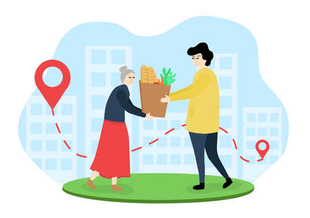 Illustration of grocery delivery to the elderly. A man passes a bag of groceries to an elderly woman. A courier delivered groceries to an elderly person. Woman received a product order