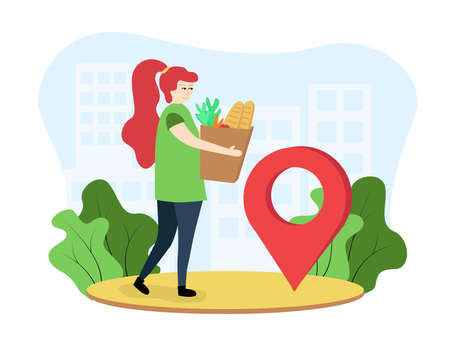Food delivery illustration. A woman carries a grocery bag. The girl delivers groceries. The woman received an order for products. A girl near the location icon stands with a product package