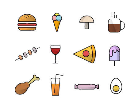 A set of food icons. Includes: ice cream, tea, coffee, burger, candy, ice cream, glass of wine, chicken leg, kebab, pizza, juice, egg, mushroom 矢量图像