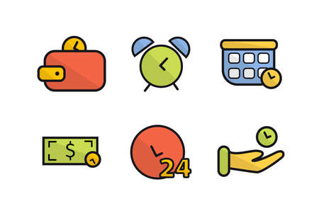 Icons time, time is money. Wallet with a coin, calculator with a coin, dollar with a coin Illustration