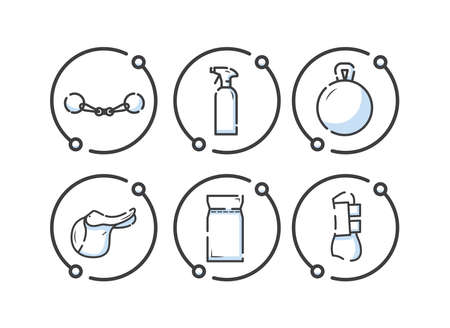 Horse equipment icons. Horse equipment icons. Horse care tools icons set. Fishing rod, cleaning agent, toy for a horse, saddle, feed, leggings