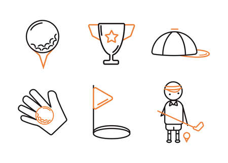 Golf icons set. Golf ball for coasters. Cup. Cap. Flagpole near the hole. A golfer with a stick near the ball on a stand.