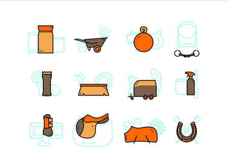 Horse equipment icons. Horse care tools icons colored set. Saddle, horseshoe, fishing rod, foot protection, cleaning agent, brush, feed, wheelbarrow, horse trailer