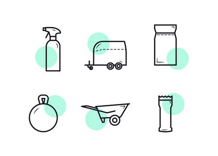 Horse equipment icons. Icon set for horses. Cleaning agent, trailer, feed, toy, wheelbarrow, grooming machine. Ilustração