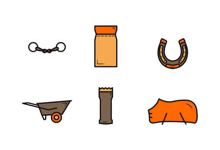 Icons colored equipment for the horse. Colored gear icons for a horse. Horse care tools icons set. Fishing rod, feed, horseshoe, car, grooming machine, blanket