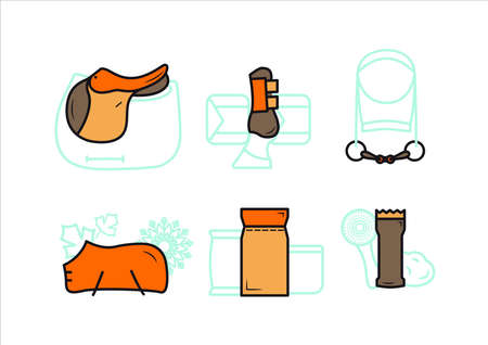 Horse equipment icons. Horse equipment icons. Set of colored icons icons for horse care. Saddle, nails, protection for legs, fishing rod, blanket feed, grooming machine