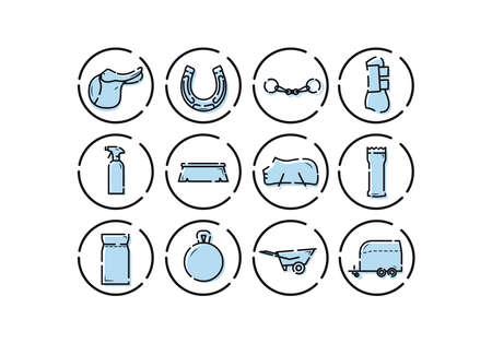 Horse equipment icons. Horse care tools icons set. Saddle, horseshoe, fishing rod, foot protection, cleaning agent, brush, feed, wheelbarrow, horse trailer Ilustracja