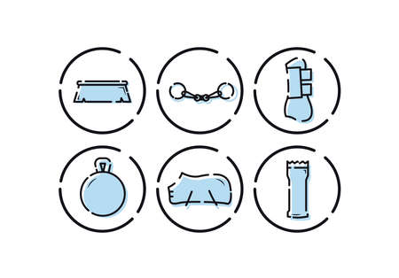 Horse equipment icons. Horse equipment icons. Horse care tools icons set. Cleaning brush, fishing rod, leggings, toy for horse, blanket, grooming machine Ilustração